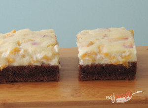 Recept Brownies broskyňový cheesecake